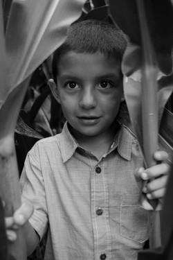 black and white children portrait