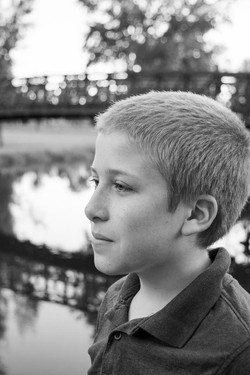 black and white portrait outdoors young