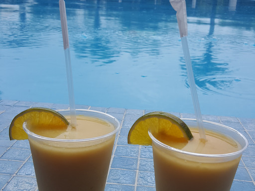 Mango tequila drinks at Hard Rock Casino, Punta Cana, Dominican Republic