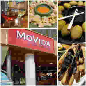 From top left clockwise are photos of wine, pork cracklings, marinated olives, eggplant fries and the MoVida exterior.