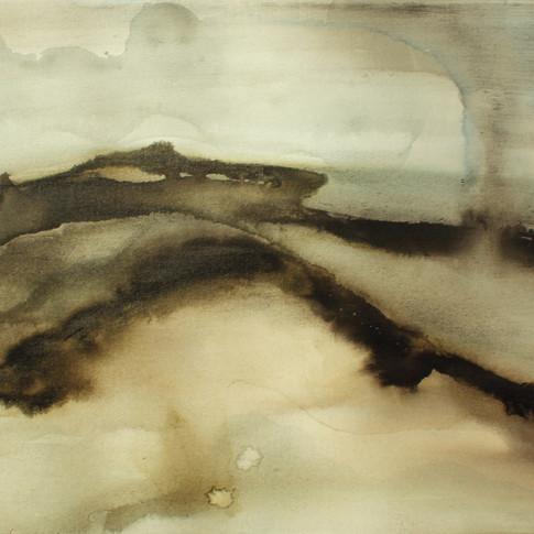 Aquarelle sur toile de coton 40x80cm