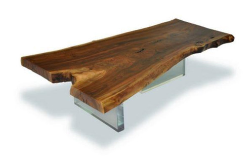 Natural Edge Dining Table With Acrylic Feet