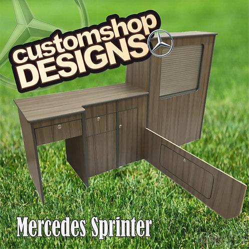 Mercedes Sprinter / Crafter (1996-Onward) SWB Camper Van Flat Pack Kitchen Unit