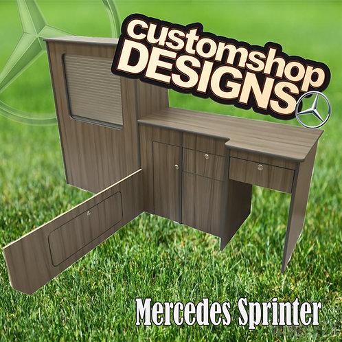 Mercedes Sprinter /Crafter (1996-Onward) SWB (LHD) Camper Flat Pack Kitchen Unit