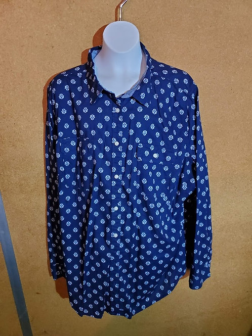 Blue Patterned Button Up Shirt