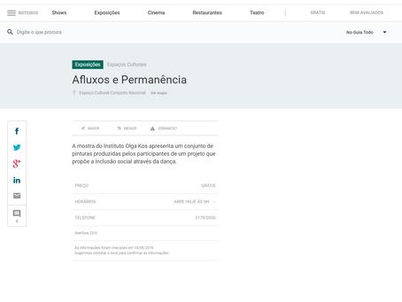 """Exposição """"Afluxo e permanência"""" no Guia Folha"""