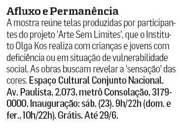 """Exposição """"Afluxo e Permanência"""" no Estado de S. Paulo"""