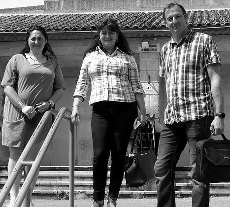 Emilie Beynet, Nathalie Jasse, Mathias Durand, sortie du 1er conseil municipal, salle Miou Grano