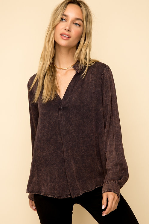 Stone Washed Blouse with Plaid Detailing