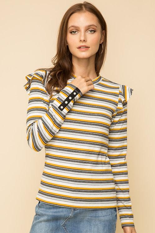 Striped Mustard and Grey Ruffle Top