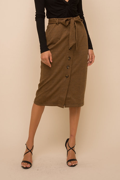 Front Tie Buttoned Pencil Skirt