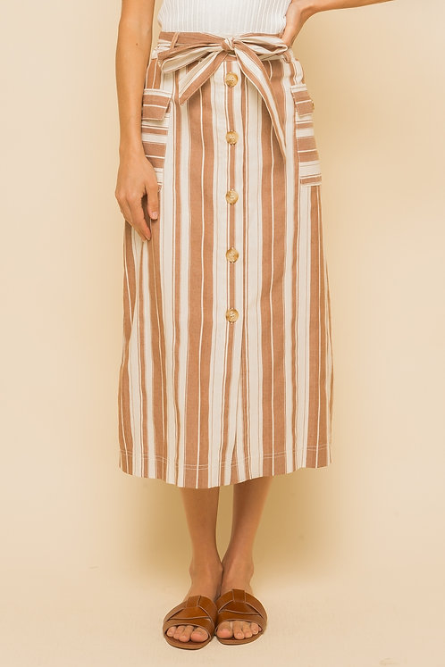 Cream and Sepia Button Down Skirt