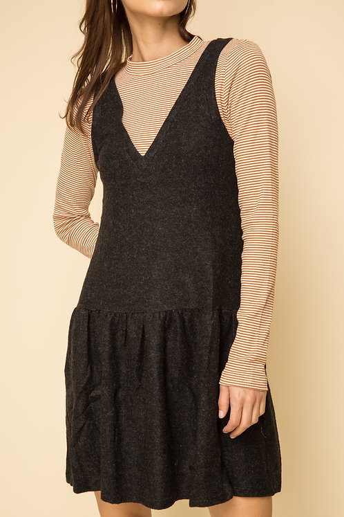 Ochre & Charcoal Layered Dress