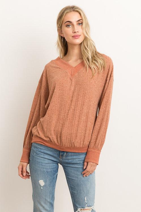 V Neck Knit Top - Rust