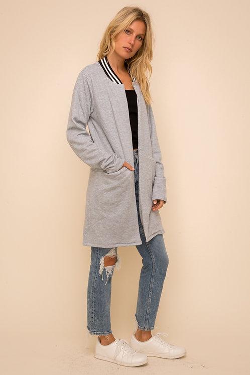 Stripe Detailed Fleece Coat