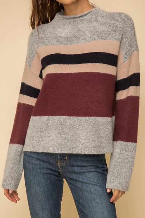 Grey and Maroon Striped Sweater