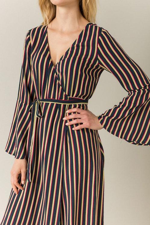 Striped Bell Sleeve Wrap Dress