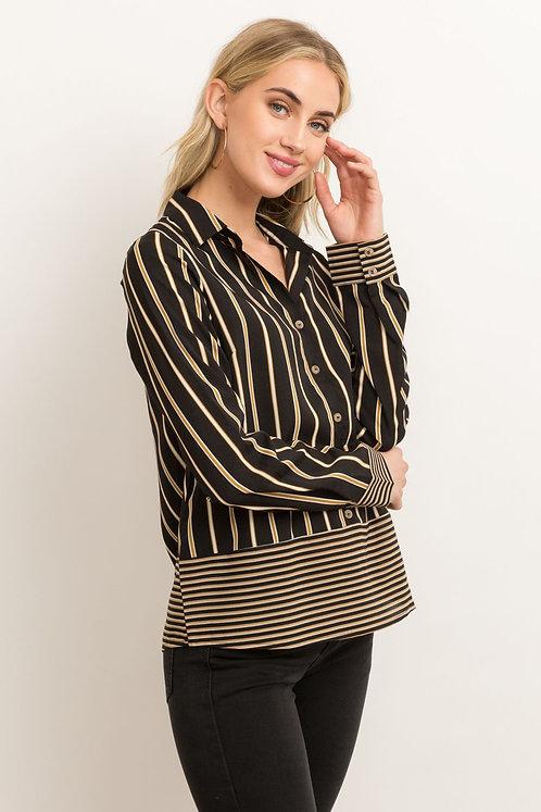 Mixed Stripe - Button Down Blouse