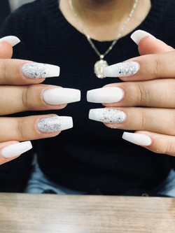 White with Spakle Nails
