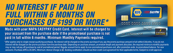 6 month 0% intrest, special finance, napa easypay, credit card