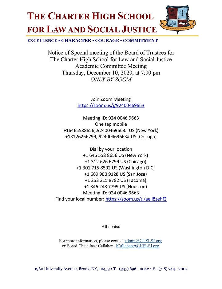 CHSLSJ Notice of Special Meeting 12.10.2