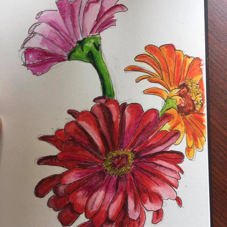 Trying my hand at painting zinnias