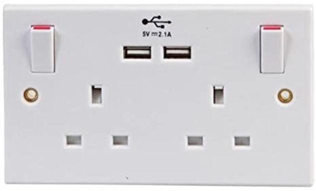 2 gang - 13 amp - 2 x USB Charging Port (2.4 mA) - Wall Socket