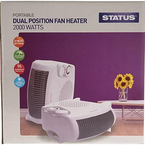 Upright Fan Heater - 2000w - White - 2 Heat Settings
