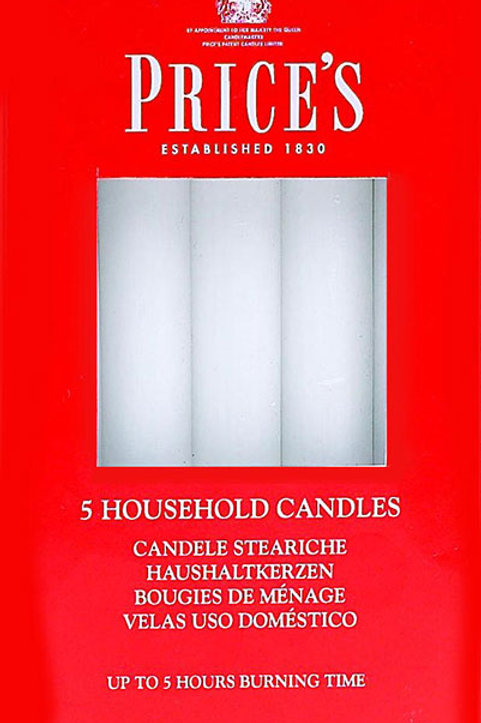 Prices 5 Pk White Household Candle - HC056028