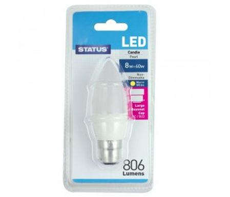 8w = 60w =  806 lumens - LED - Candle - BC - PA - Pearl