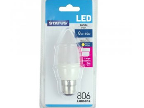 8w = 60w =  806 lumens - LED - Candle - BC - PA - Pearl