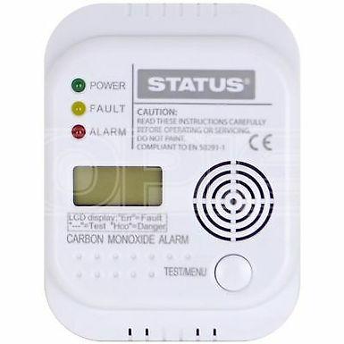 Carbon Monoxide Alarm - 3 x AA - White - Status - Digital - 1 pk