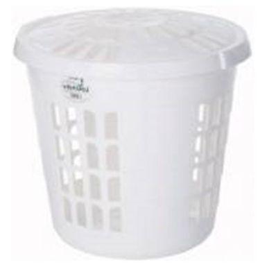 Casa Deluxe Round Laundry Hamper Ice White
