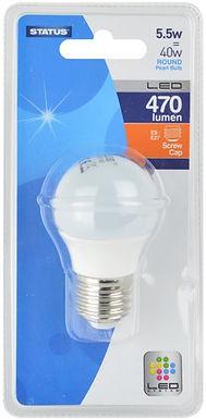 5.5w = 40w = 470 lumens - Status - LED - Round - ES - PA - Pearl