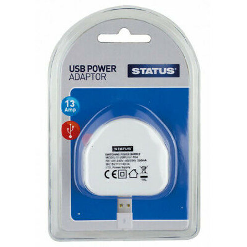 1 x USB Charging Port Power Adaptor - White Plug - 2100mA - 1 pk