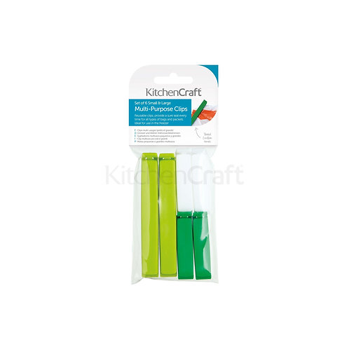 KC BAG CLIPS 6PC ASSORTED SIZES