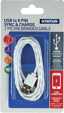 2 Mtr - 8 Pin to USB Charging & Data Transfer Cable