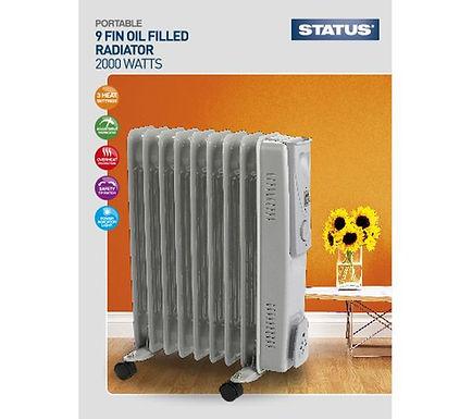 9 Fin - Oil Filled Radiator - 2000w - Grey - 3 Heat Settings