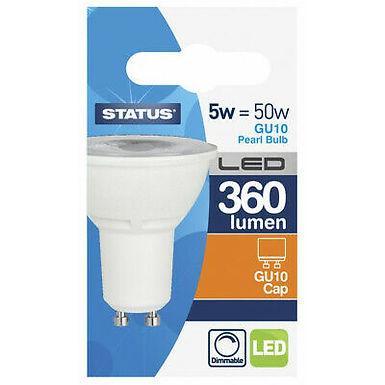 5w = 50w = 360 lumens - Status - Dimmable LED - GU10 - 38� - Clear