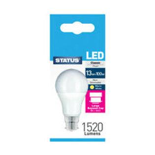 13w = 100w =  1520 lumens - Status - LED - A70 GLS - BC - PA -Pearl