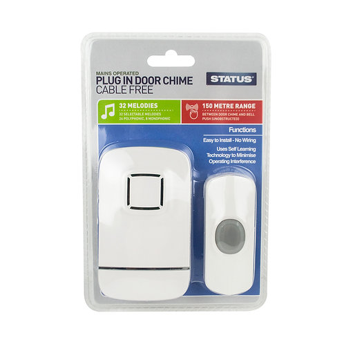 Door Chime - White - Status - Plug-in - Cable Free - 1 pk