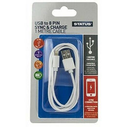 1 Mtr - 8 Pin to USB Charging & Data Transfer Cable