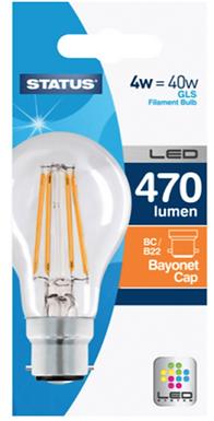 4w = 40w =  470 lumens - Status - Filament LED - A60 GLS - BC - Clear