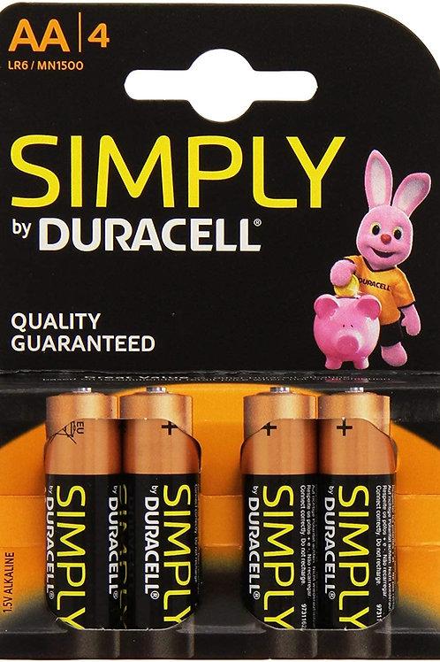 Duracell MN1500 / AA / 1.5V  Batteries 4 pk