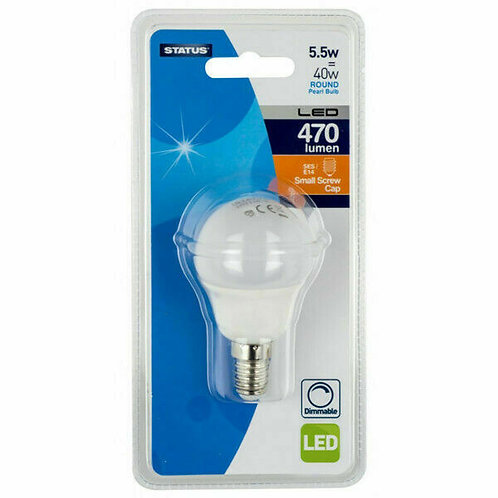 5.5w = 40w = 470 lumens - Dimmable LED - Round - SES - PA - Pearl