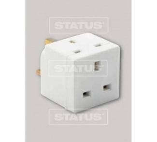 3 way - Fused - Adaptor - White - Status - 1 pk