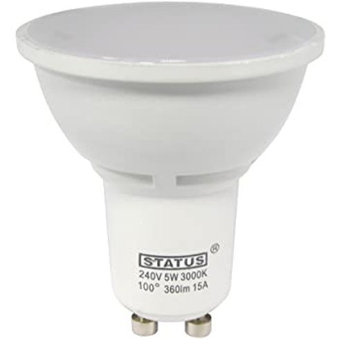 5w = 50w = 360 lumens - Status - LED - GU10 - 38� - Clear