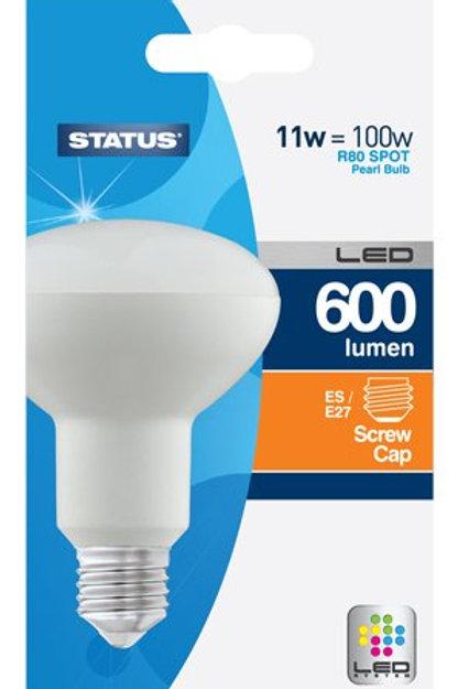 11w = 100w = 600 lumens - Status - LED - R80 - Reflector Spot - ES