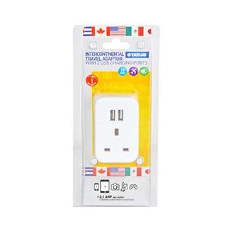 U.S.A. - Intercontinental Adaptor - 1 way - 2 x USB Charging Ports - 1 pk