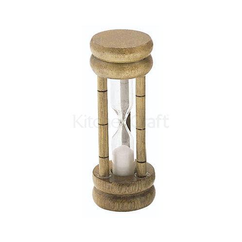 KC HOURGLASS TIMER 3 MINUTE GLASS WOOD